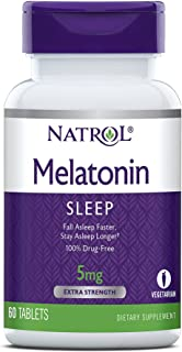Natrol Melatonin Tablets, Helps You Fall Asleep Faster, Stay Asleep Longer, Faster Absorption, 100% Vegetarian, Extra Stre...