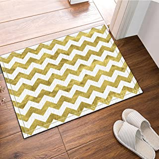 NYMB Gold and White Chevron Pattern Bath Rugs Non-Slip Floor Entryways Outdoor Indoor Front Door Mat 60x40cm Bath Mat Bathroom Rugs (Multi13)