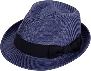 Straw Fedora Hats for Men Women Panama Cuban Trilby Summer Beach Sun Hat Short Brim