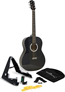 Martin Smith 6 Acoustic SuperKit Stand, Tuner, Bag, Strap, Picks, and Guitar Strings, Black (W-101-BK-PK)