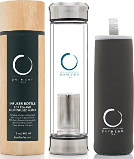 Pure Zen Tea Tumbler with Infuser – BPA Free Double Wall Glass Travel Tea Mug with..