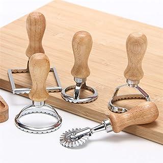 Tagliapasta per ravioli, Tagliapasta con manico in legno, Stampo per torta con rotella per pasticceria, Pressa per pasta d...