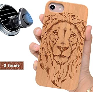 iProductsUS Wood Phone Case Compatible with iPhone 8,7, 6/6S and Magnetic Mount, Protective Cases Engraved Cool Lion, Built in Metal Plate, TPU Rubber Shockproof Cover (4.7 inch)