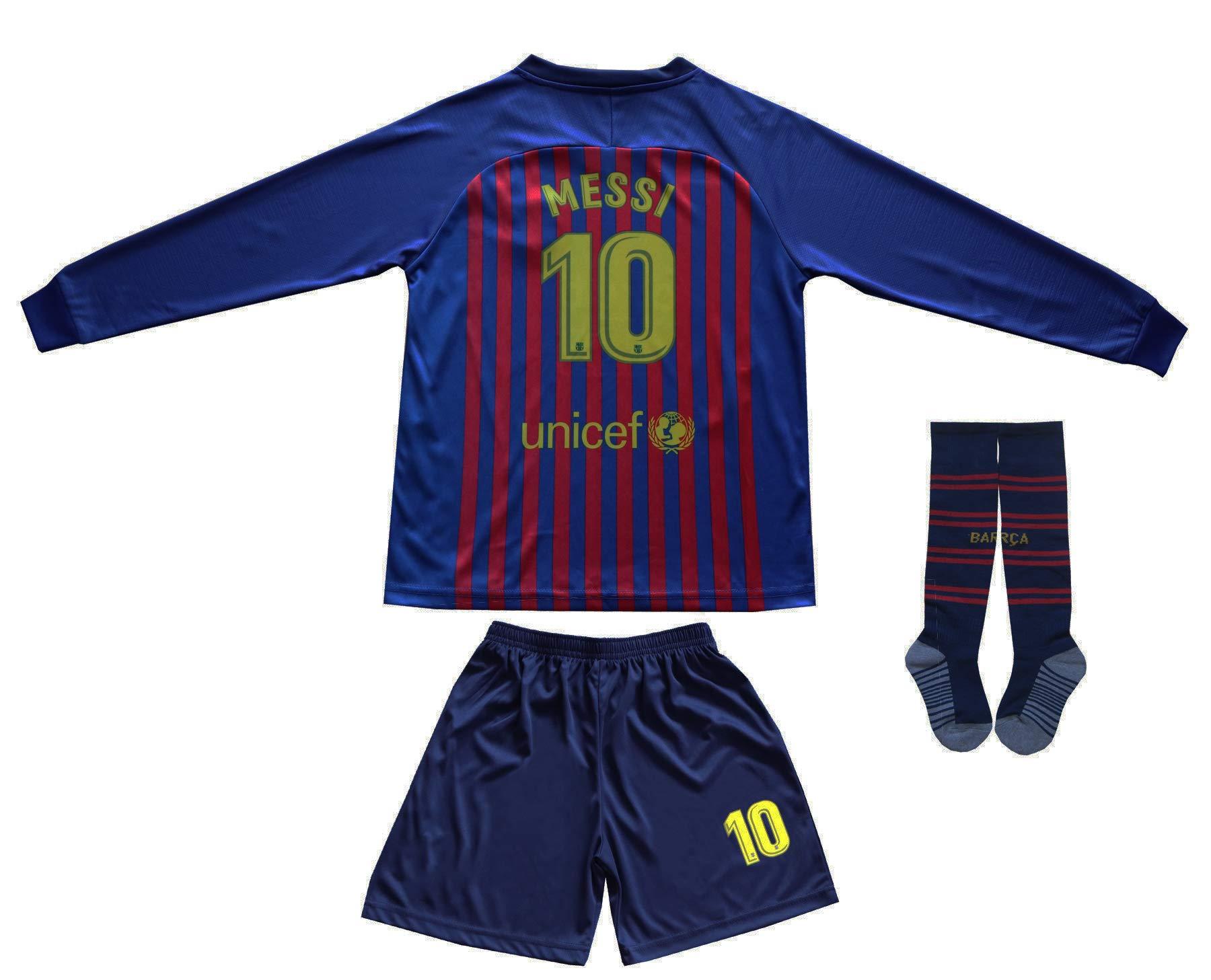 Da Games 青年运动装 Barcelona Messi 10 儿童家庭足球长袖运动衫/短裤足球袜套装