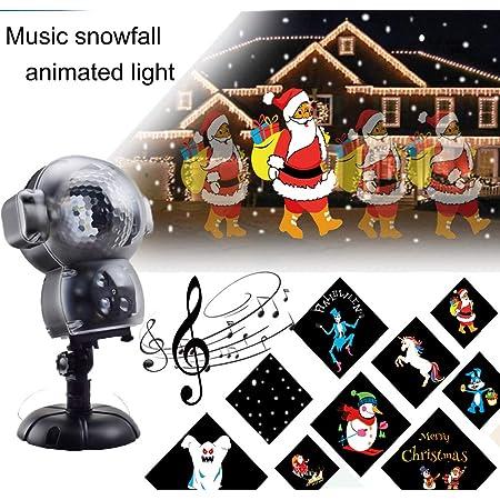 Basdt Led Anime Schneeflocke Projektor 8 Animationseffekt Musik Player Schnee Falling Effect Fernbedienung Animierte Schneefall Projektor Licht Für Halloween Weihnachten Beleuchtung