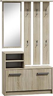 ADGO Ensemble de meubles de couloir, armoire, miroir et cintre et armoire à chaussures, 6 cintres pour vêtements et mantea...