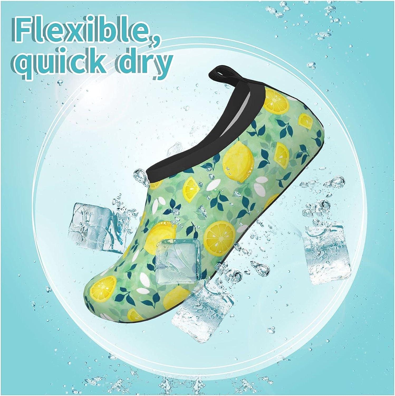 Jedenkuku Lemon Fruit Green Leaves Children's Water Shoes Feel Barefoot for Swimming Beach Boating Surfing Yoga
