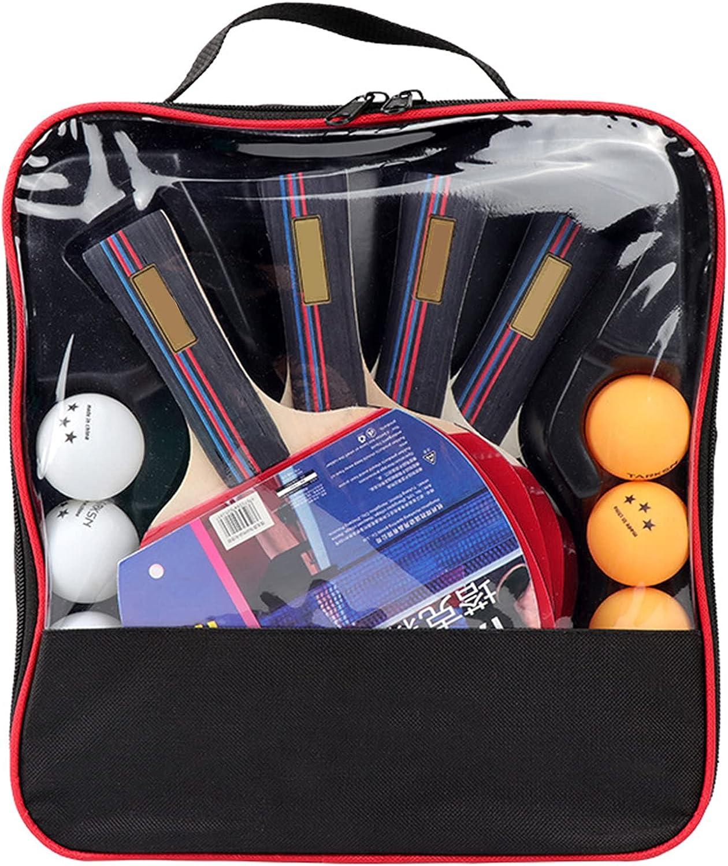 NASTON Juego de 4 paletas de Ping Pong, Juego de Raquetas de Tenis de Mesa, Equipo Deportivo de Ocio para Interiores y Exteriores,36.5 * 27 * 7CM