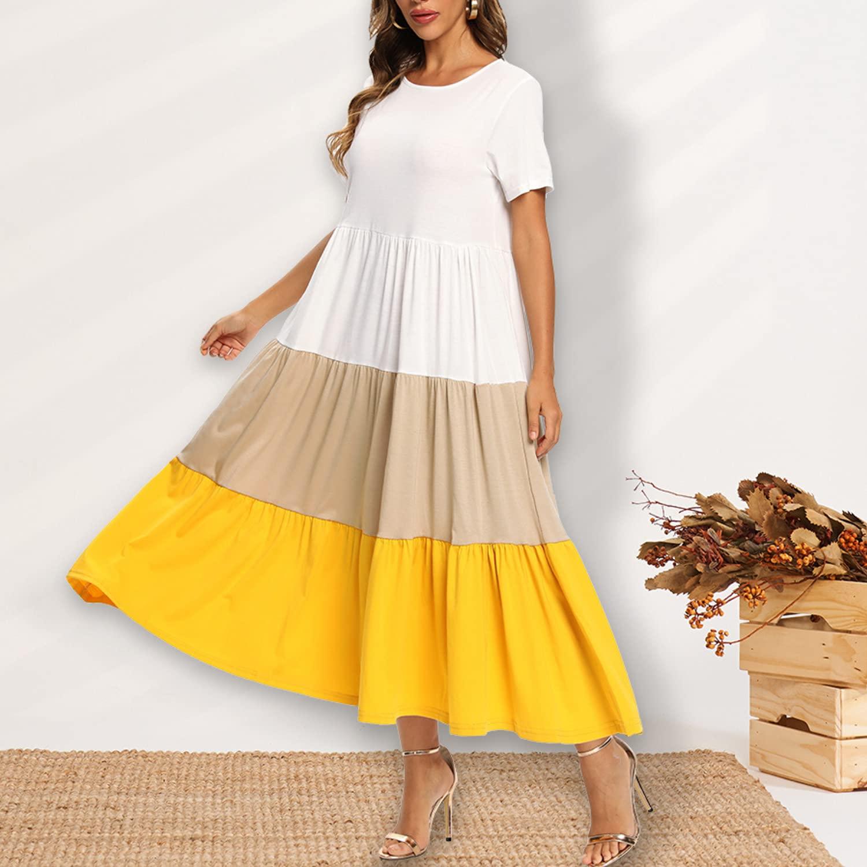FridayIn Women's A-Line Short Sleeve Summer 3-color stitching Fashion Scoop-Neck T-Shirt Long Dresses