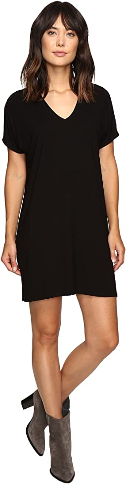 Stretch Jersey Short Sleeve V-Neck Dress
