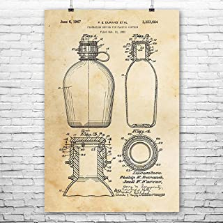 Water Canteen Poster Print, Camping Gift, Water Bottle Art, Hiking Gift, Canteen Art Print, Boy Scout Gift, Patent Print Vintage Paper (5