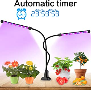 Lovebay Grow Light [Auto Turn on/Off] 40 LED Dual Head Plant Grow Light with Red/Blue Spectrum, Adjustable Gooseneck, 5 Dimmable Levels, for Indoor Plants Hydroponics Greenhouse