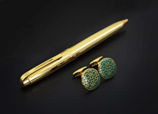 PEN & Golden green CUFLLENKS SET FOR MEN
