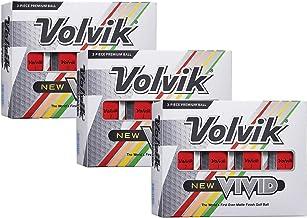 Volvik New Vivid 3-Piece High Visibility Premium Matte Finish Color Golf Balls 3 Dozen (36 Balls) Bundle Gift Set