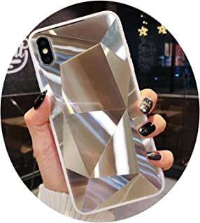 Diamond Mirror Phone Case for iPhone Xs MAX X XR 8 7 6 6S Plus Glitter Case Back Cover 8Plus Silicone Soft Candy Case Silver for iPhone 6 Plus