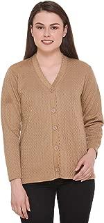 eWools Woolen Bestselling Basic Casual Women Ladies Cardigan Sweaters (Large, Brown)
