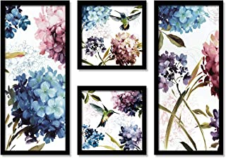 Floral & Bird Framed Painting / Posters for Room Decoration , Set of 4 Black Frame Art Prints / Posters for Living Room By...