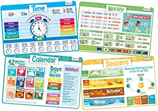 merka Kids' Educational Placemats – Reusable, Non-Slip, Silicone Plastic Mats for The Dining Table – A Learning Tool for T...