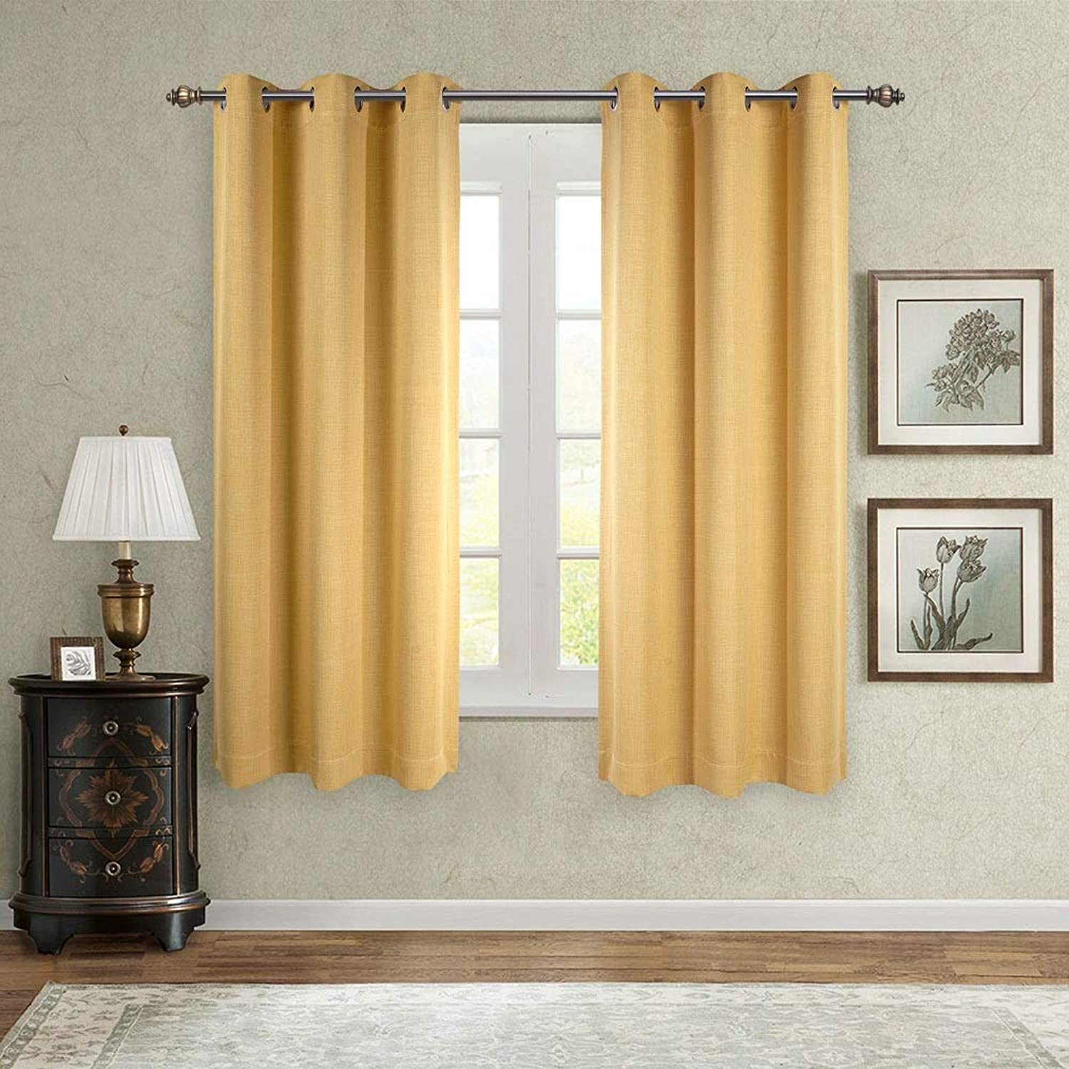 SINGINGLORY Blackout Curtains 2 Panels Set, Linen Textured Thermal Insulated Grommet Window Curtains for Bedroom, Living Room and Kitchen (42x63 Inch, Yellow)
