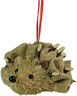 New Burlap And Wood Hedgehog Quilling Spines Animal Christmas Tree Ornament