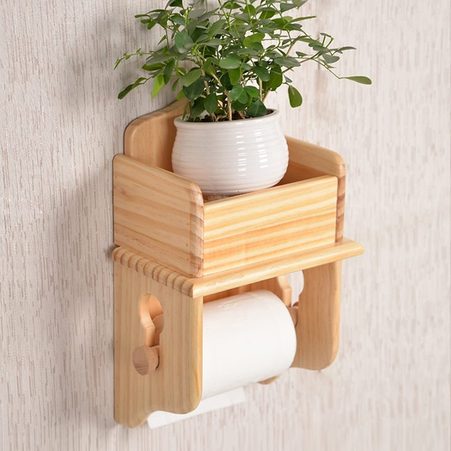 WENZHE Over Toilet Bathroom Toilet Roll Holder Storer Wall Mounted Tissue Box Tower Hanger Woody, 2 Models Storage Racks Unit (color   Pine)