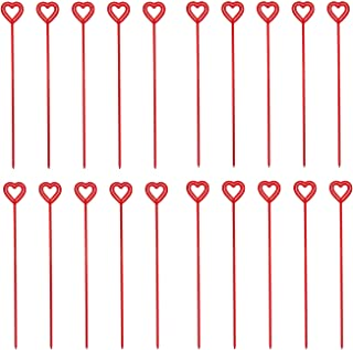 Set of 100 Made In USA Royer Plastic Heart Valentines Day Floral Picks Card Holders Transparent Red 12 Inch