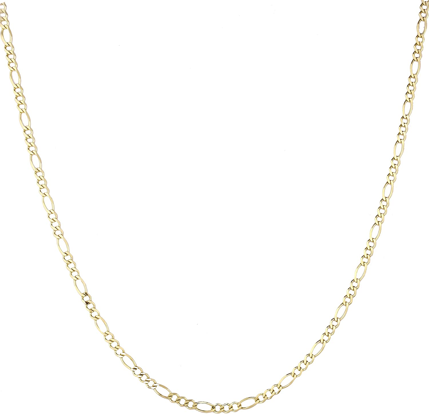 LUXURMAN 14k Yellow Solid Gold 2.8mm Diamond Cut Figaro Chain Necklace, Bracelet or Anklet Lobster Clasp