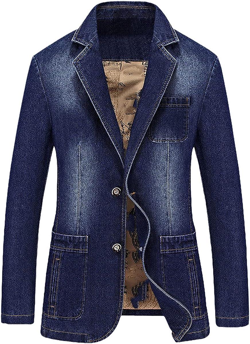 Men's Denim Casual Blazer Men's Fashion Pure Cotton Retro Blazer Denim Jacket Large Size Multi-Pocket