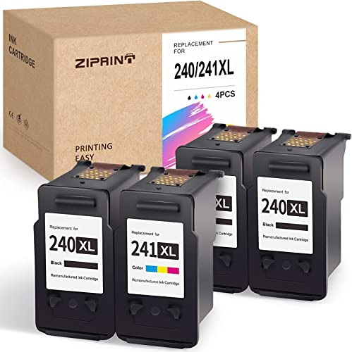 new arrival ZIPRINT online Remanufactured Ink Cartridge Replacement for Canon PG-240XL CL-241XL 240 241 for Pixma MG3620 MG3220 MG2220 MG2120 MX432 MX472 MX532 MG3520 MX452 MX459 MX512 TS5120 2021 MX392 (3 Black, 1Tri-Color) online sale