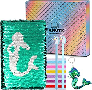 Mermaid Sequin Diary - Cute Reversible Sequin Journal,Magic Travel Notebook Gift for Girl,A5 Notepad Childrens Writing School Office Stationery Set
