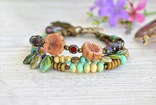Pulsera multicolor mujer con colgantes, Joyas bohemias