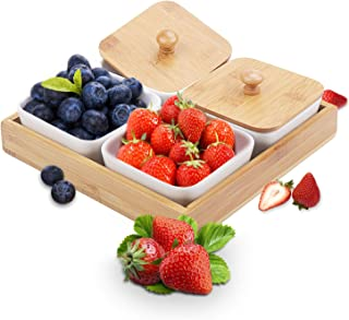 Ceramic Snack Serving Tray, 4-Compartment Tray Serving Platter with Bamboo Lid and Pallets,Moisture-proof Bowls for Food,Snacks,Condiments, Appetizers(White)