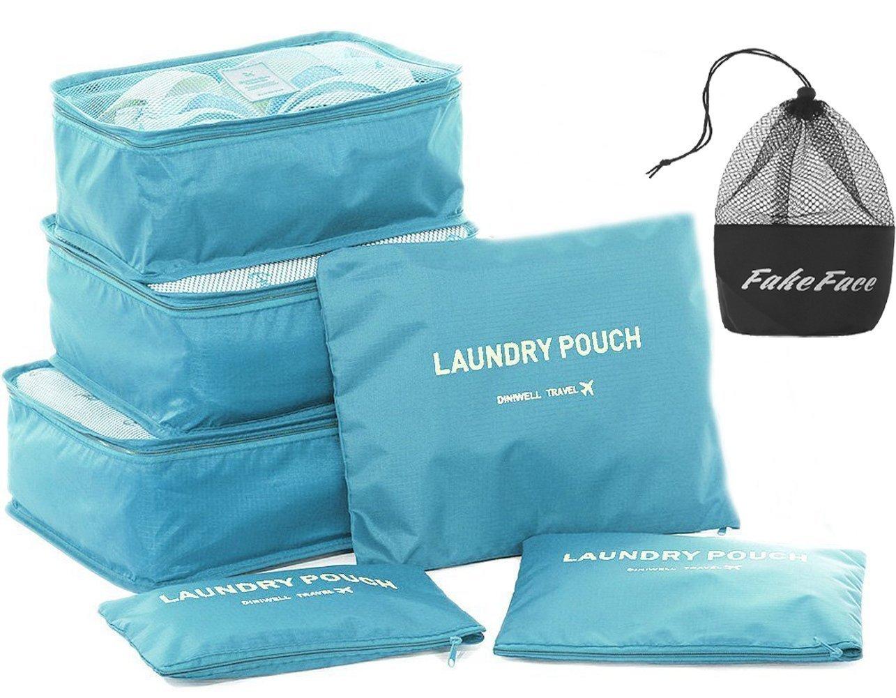 旅行荷物収納パッキングルービックキューブ6旅行の基本バッグ防水ランドリーウォッシュ醤化粧品収納袋ジッパー持ち運びスーツケースオーガナイザー靴バッグセット6
