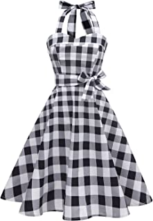 387ba12b29 Topdress Women sVintage Polka Audrey Dress 1950s Halter Retro Cocktail Dress