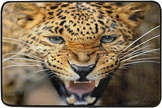 JSTEL Nonslip Door Mat Home Decor, Stylish Angry Leopard Face Durable Indoor Outdoor Entrance Doormat 23.6 X 15.7 Inches