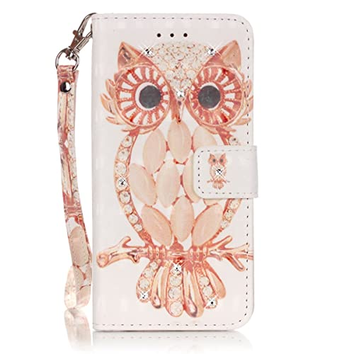 iPhone 5S Wallet Case, iPhone 5 Flip Case - Felfy Colorful Drawing Art Painted Cartoon Owl with Bling Glitter Diamond Pattern PU Leather Flip Magnetic Book Wallet Case Folio Holster Cover for Apple iPhone 5/SE/5S +1x Owl Dust Plug +1x Pink Stylus