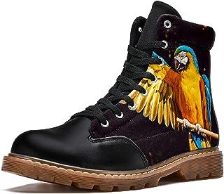 LORVIES Oiseau Ara Jaune Perroquet Bottes d'hiver Chaussures Montantes en Toile à Lacets pour Hommes