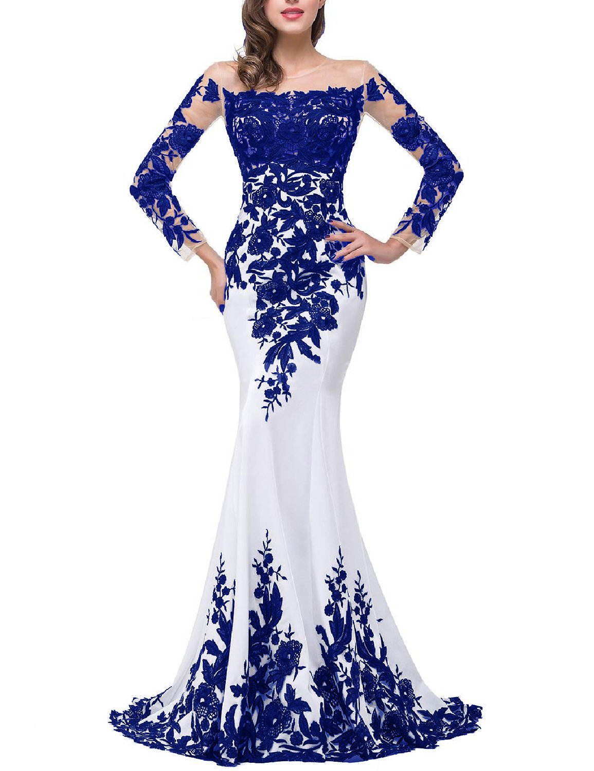 Available at Amazon: OYISHA Women's Lace Applique Evening Dress with Long Sleeves Long Mermaid Wedding Celebrity Gown EV122