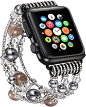 fastgo Compatibale for Apple Watch Band 42mm, Bling Elastic Cute Dressy Feminine Replacement Band Compatible for Apple Watch Series 5/4/3/2/1(Gray-42mm 44mm)