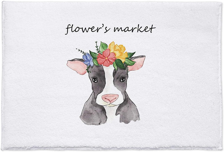 Doormat Watercolor Cow Fuzzy Manufacturer Large discharge sale OFFicial shop Rug Soft M Bath Non-Slip Microfiber