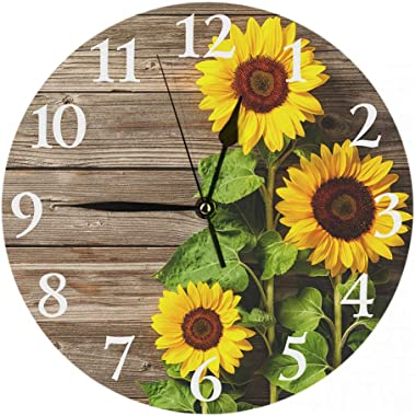 Britimes Round Wall Clock Silent Non Ticking Clock 9.5 Inch for Living Room Bathroom Kitchen School Decor Sunflowers Wooden