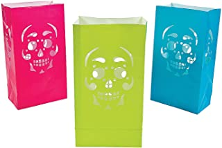 Fun Express - Day Of The Dead Luminary Bags (dz) for Halloween - Party Supplies - Bags - Paper Treat Bags - Halloween - 12 Pieces