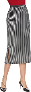 Women's High Waist Split Striped Below Knee Midi Pencil Skirt