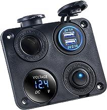 Soapow 4 in 1Dual USB Auto Sigarettenaansteker Charger Voltmeter Schakelaar 12 V/24 V