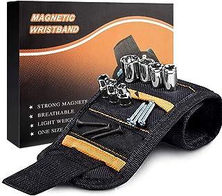 أدوات سوار المعصم المغناطيسي للرجال، أحزمة أدوات مع 15 مغناطيسًا قويًا لحمل المسامير، الأظافر، قطع الحفر لرجل اليدوية، أدو...