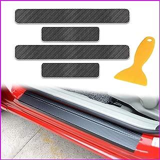 Longzhimei スカッフプレート 車炭素繊維ドアステッカー 防止 スカッフプレート ステップ ガード カバー 適し マツダ CX-5 CX-3 デミオ アテンザ アクセラスポーツ 4個 耐傷性