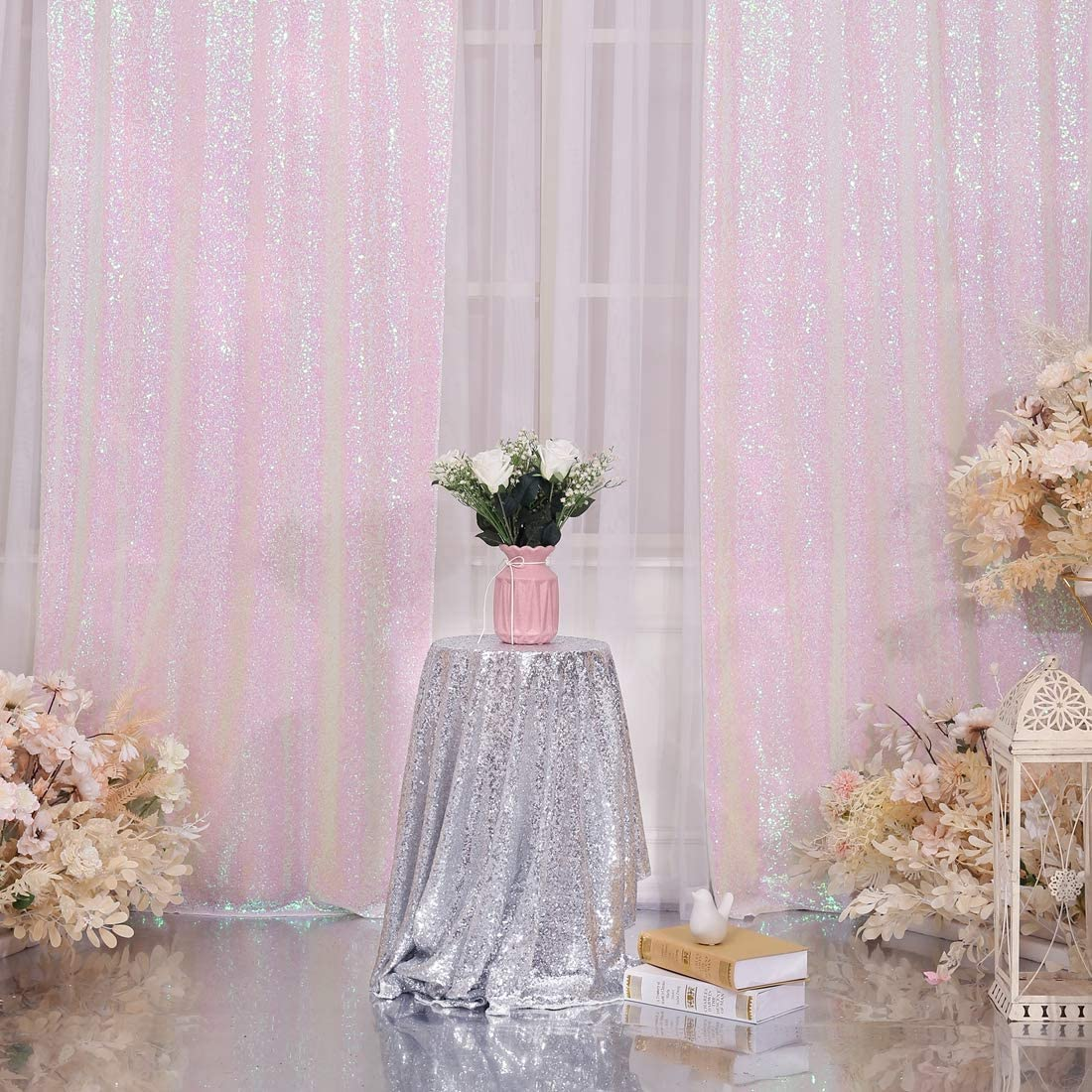 Juya Delight 2ft x 8ft x 2Pcs Black Sequin Photography Backdrop Curtain for Wedding Party Decoration Festival Ceremony