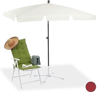 Relaxdays Rektangulärt parasoll, 200 x 120 cm strandparaply, höjdjusterbart trädgårdsparasoll med lutningsfunktion, vitt