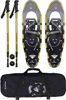 کفش زمستانی Highland Snowshoes 30 اینچ آلومینیوم سبک وزن نورد کفش های برفی طلایی با کیف حمل و قطب های قابل تنظیم