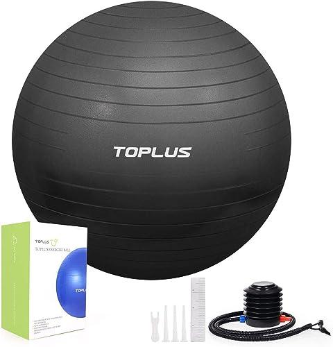 TOPLUS Ballon Fitness Yoga, Balle d'exercice Gymnastique, Anti-éclatement et très épais, Ballon pour Le Yoga, Le Pila...